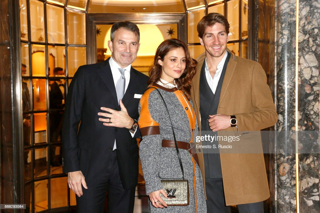 Lelio Gavazza, Valeria Bilello and Alan Cappelli Goetz attend Christmas Lights At Bvlgari Boutique Rome on December 7, 2017 in Rome, Italy.