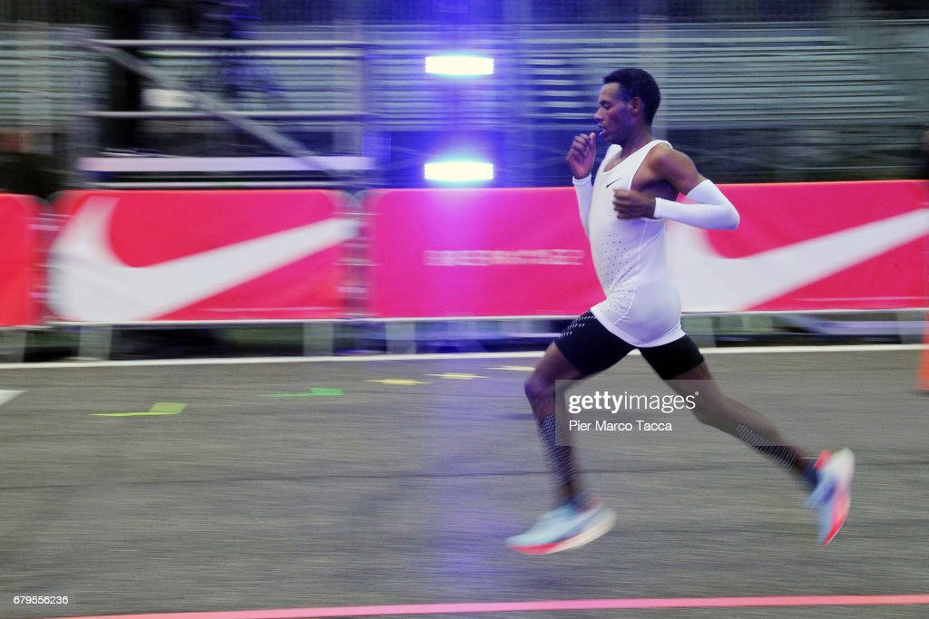 Lelisa Desisa runs during the Nike Breaking2: Sub-Two Marathon Attempt at Autodromo di Monza on May 6, 2017 in Monza, Italy.