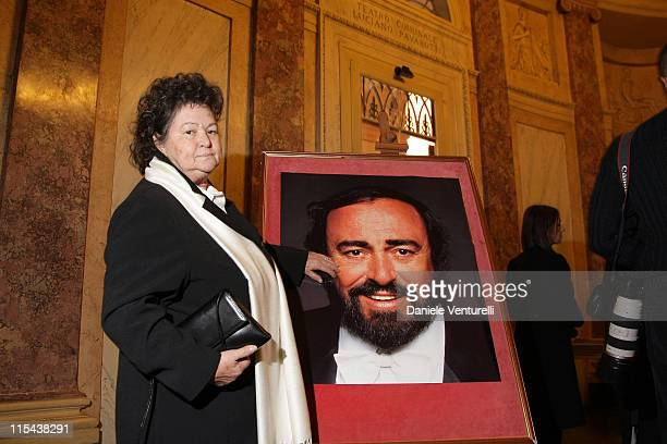 Lella Pavarotti attends the ceremony at which the Modena Communal Theatre was renamed the 'Luciano Pavarotti Communal Theatre' on December 6 2007 in...
