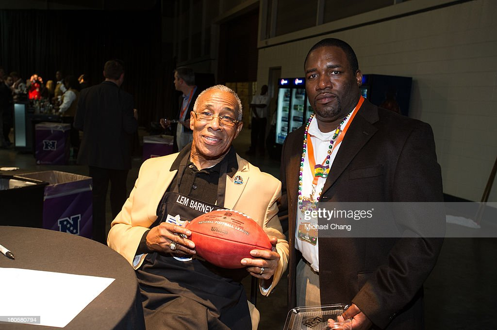 Lem Barney poses with a fan during the 2013 Taste of the NFL at the Ernest N. Morial Convention Center on February 2, 2013 in New Orleans, Louisiana.