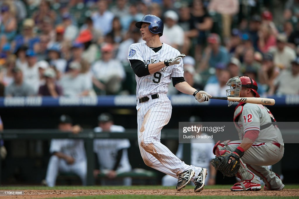 <a gi-track='captionPersonalityLinkClicked' href=/galleries/search?phrase=DJ+LeMahieu&family=editorial&specificpeople=5940806 ng-click='$event.stopPropagation()'>DJ LeMahieu</a> #9 of the Colorado Rockies singles in the third inning of a game against the Philadelphia Phillies at Coors Field on June 15, 2013 in Denver, Colorado. The Rockies beat the Phillies 10-5.