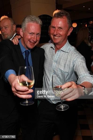 Lembit Opik and Nigel Evans attend the launch of 'Sod The Bitches' by Steven Berkoff at La Brasserie on May 11 2015 in London England