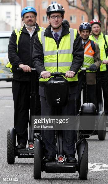 Lembit Opik MP leads a group of crossparty Parliamentarians on Segway Scooters through London on March 22 2010 in London England Mr Opik today handed...