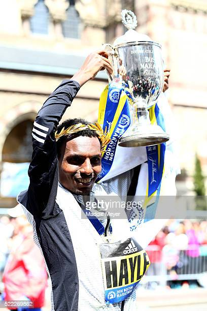 Lemi Berhanu Hayle of Ethiopia celebrates after winning the 120th Boston Marathon on April 18 2016 in Boston Massachusetts