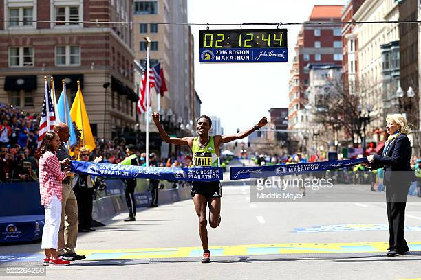 Lemi Berhanu Hayle of Ethiopia crosses the finish line to win the 120th Boston Marathon on April 18 2016 in Boston Massachusetts