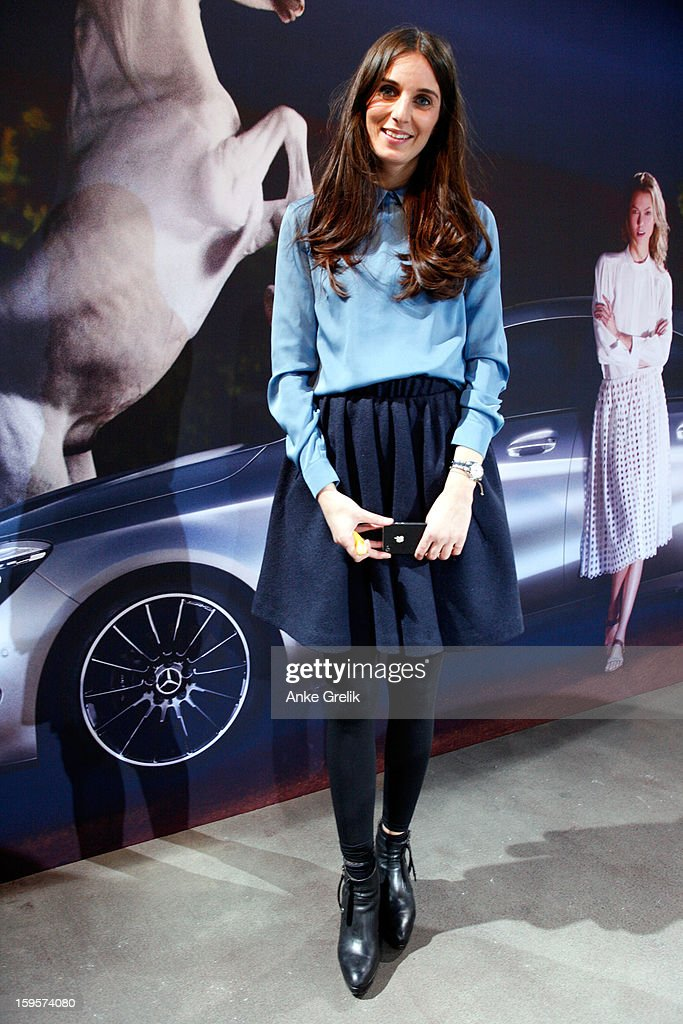 Lemia Al-Barazanchi wearing Acne (shirt,skirt,shoes) attends Mercedes-Benz Fashion Week Autumn/Winter 2013/14 at the Brandenburg Gate on January 16, 2013 in Berlin, Germany.