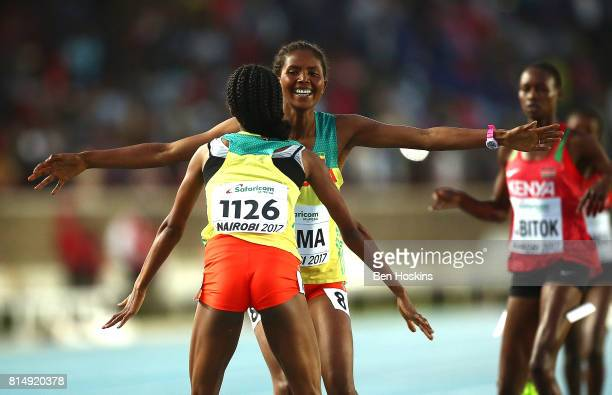 Lemlem Hailu and Sindu Girma of Ethiopia celebrate after winning gold and silver in the final of the girls 1500m on day four of the IAAF U18 World...