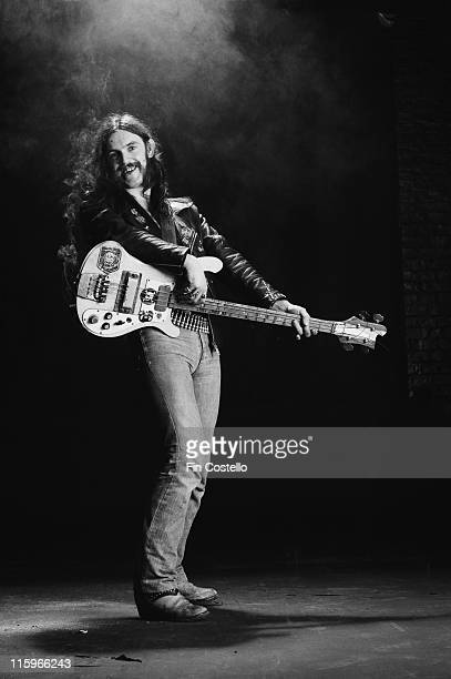 Lemmy Kilmister British rock bassist and singer with British heavy metal band Motorhead poses with his bass guitar circa 1978