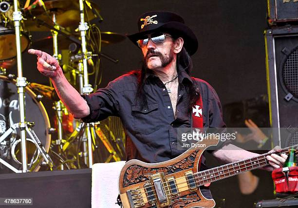 Lemmy Kilmister of Motorhead performs live on the Pyramid stage during the first day of the Glastonbury Festival at Worthy Farm Pilton on June 26...