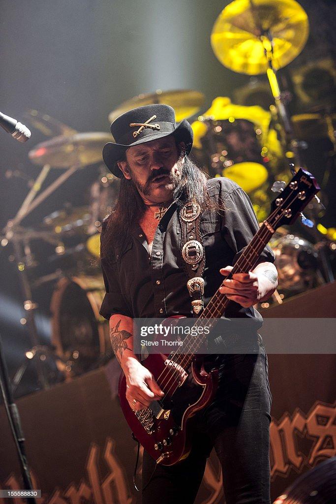 Lemmy Kilmister of Motorhead performs on stage at Wolverhampton Civic Hall on November 5, 2012 in Wolverhampton, United Kingdom.