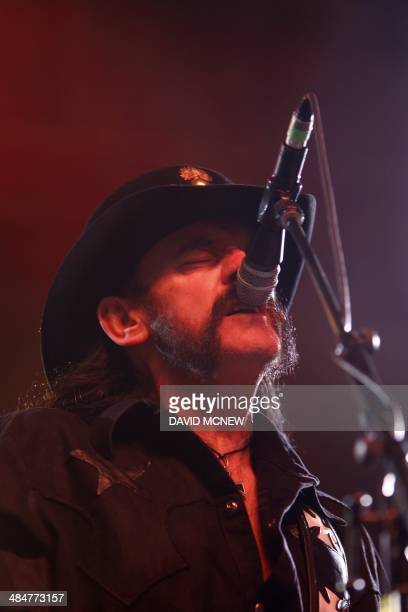Lemmy Kilmister of Motorhead who has returned to the stage after multiple heath scares last year performs at the Coachella Valley Music Arts Festival...