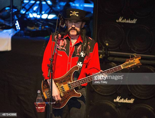 Lemmy Kilmister of Motörhead performs live onstage at Murat Theatre on September 9 2015 in Indianapolis Indiana