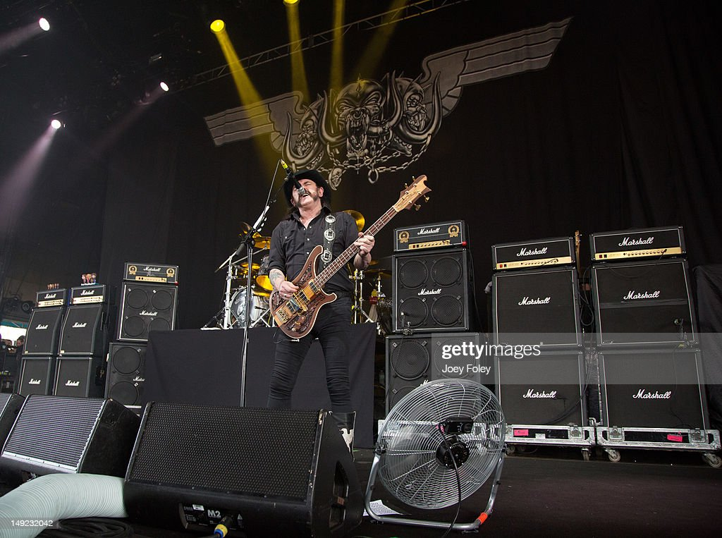 Lemmy Kilmister of Motörhead performs onstage during the 2012 Rockstar Energy Drink Mayhem Festival at the Riverbend Music Center on July 24, 2012 in Cincinnati, Ohio.