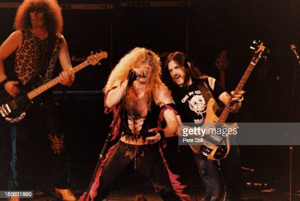 Lemmy of Motorhead joins Mark Mendoza and Dee Snider of Twisted Sister on stage at the Lyceum Theatre in the Strand on April 19th 1983 in London...
