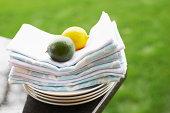Lemon and lime on napkins