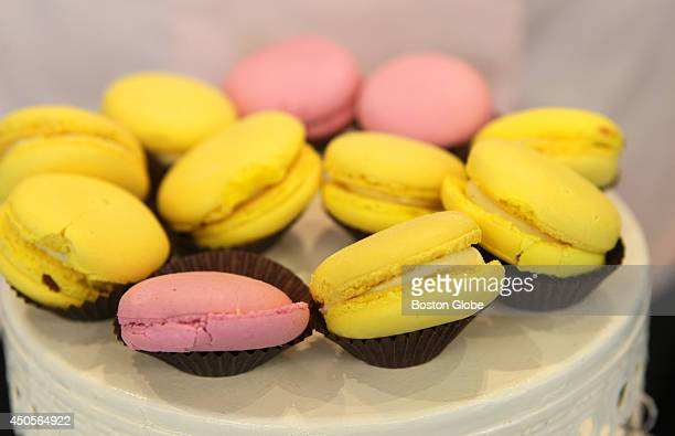 Lemon and raspberry macaroons from Melita Fiore Patisserie of Salem Mass for sale at Berkshire Farms Market on opening day at Logan Airport Terminal...