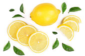lemon and slices with leaf isolated on white background. Flat lay, top view.
