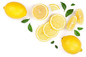 lemon and slices with leaf isolated on white background with copy space for your text. Flat lay, top view.
