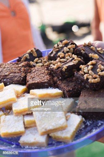 Lemon bars and brownies : Stock Photo