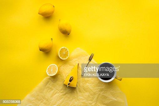 Lemon cheesecake and coffee