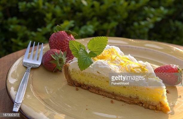 Lemon Cream Cake, Gourmet Summer Custard Tart Pie Dessert Slice