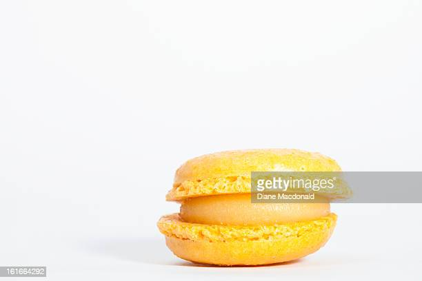 A lemon flavored French macaron or macaroon