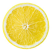 Lemon fruit slice. Circle isolated on white.