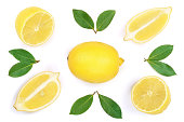 lemon isolated on white background. Flat lay, top view.