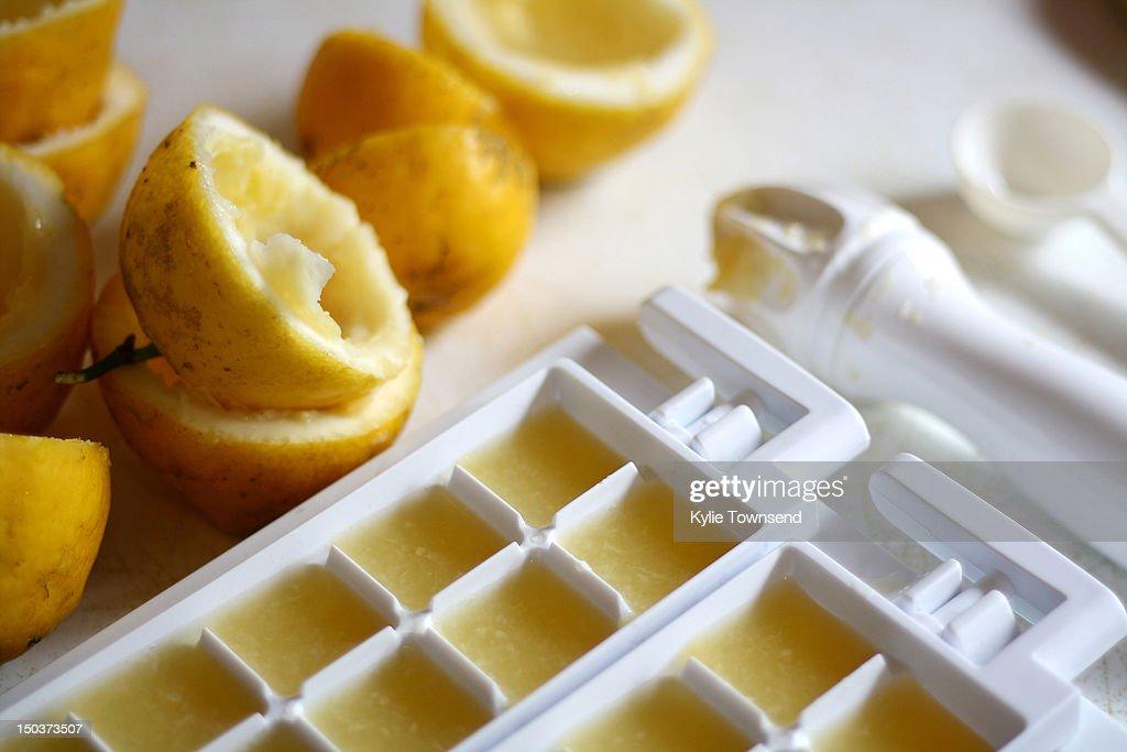 Lemon juice ice-cubes : Stock Photo