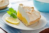 A slice of delicious homemade lemon meringue pie.