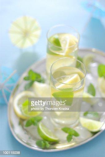 Lemon Mint Ice Tea : Stock Photo