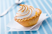 Close up of a fresh and sweet tiny lemon pie