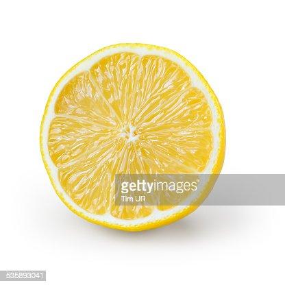 レモンスライス白で分離 : ストックフォト