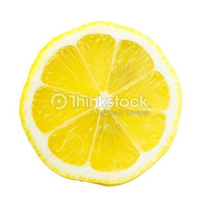 Fetta Di Limone Su Sfondo Bianco Con Un Giallo Brillante Foto Stock