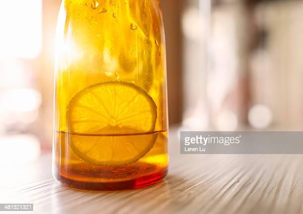 Lemon slice soaking in bottle