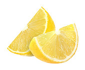 lemon fruit slices isolated on a white background with clipping path