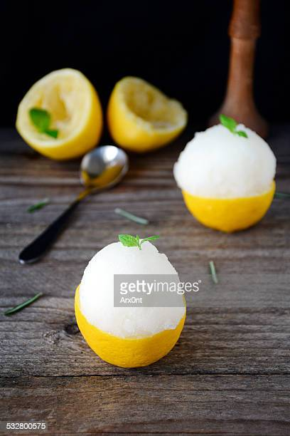 Lemon sorbet served in frosted lemon halves