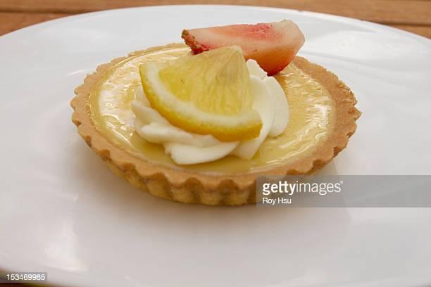 Lemon Tart with Strawberry and slice of lemon