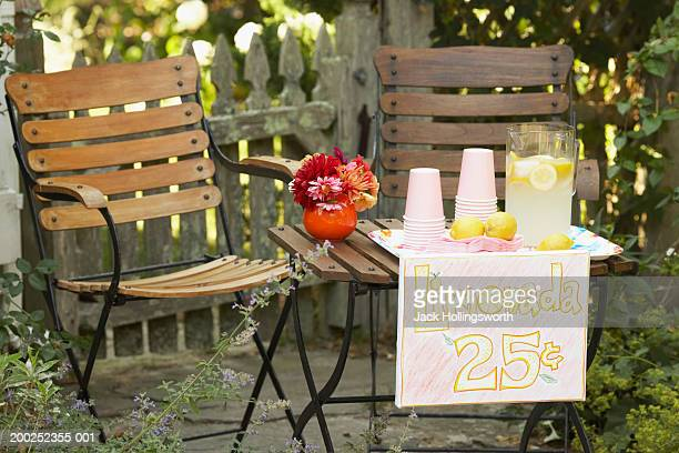 Lemonade stand placed in a garden