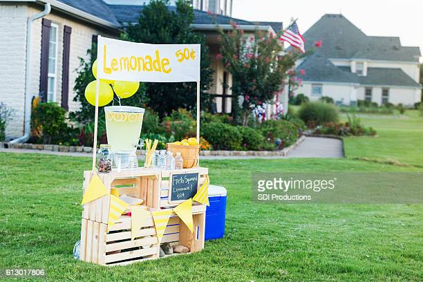 Lemonade stand set up in front yard