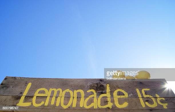 Lemonade stand sign with fresh lemons