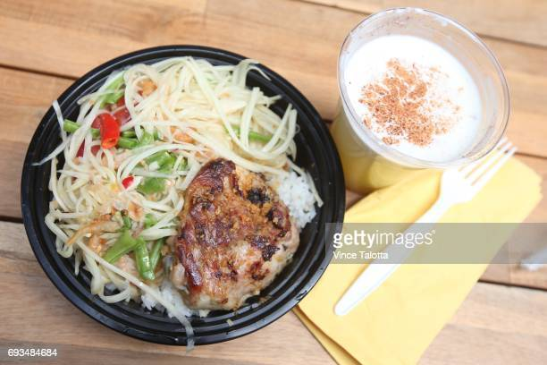 TORONTO ON JUNE 1 Lemongrass chicken with green papaya salad from Cassia restaurant at the downtown Adelaide Market running weekdays until July 28