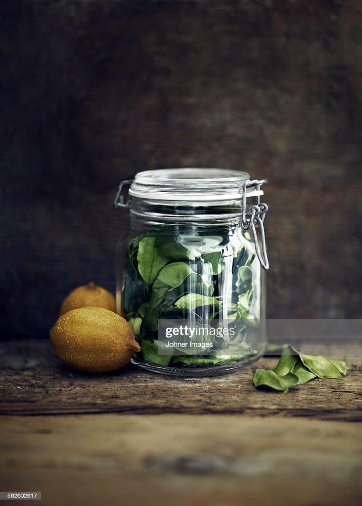 Lemons and lemon leaves in jar