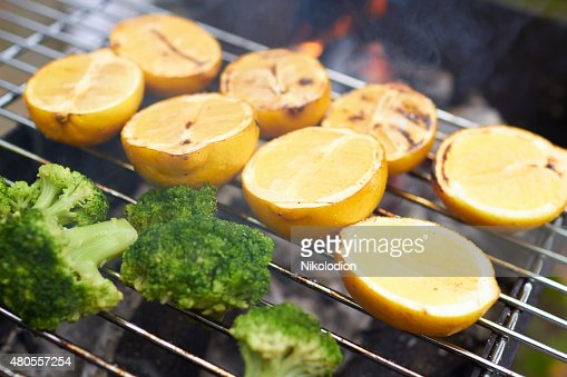 lemons, broccoli, grilled : Stock Photo