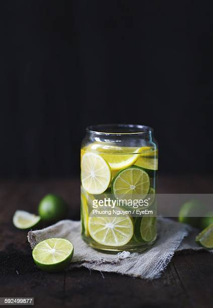 Lemons In Glass Jar On Table