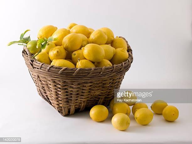 Lemons overflowing in basket