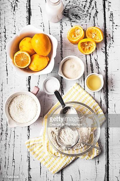 Lemons, sugar and flour bowl