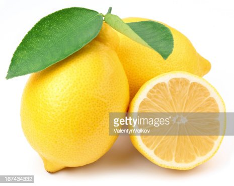 Lemons with leaves. : Stock Photo