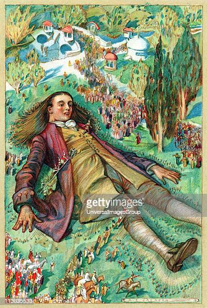 Lemuel Gulliver set ashore after a mutiny regains consciousness and finds himself a prisoner of the Lilliputians Chromolithograph from edition of...