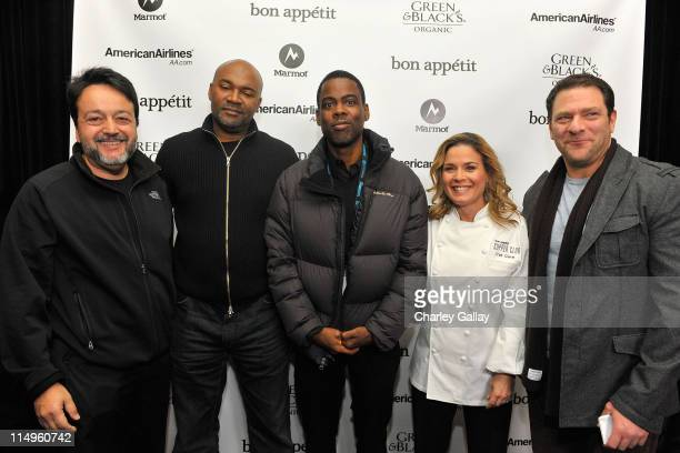 Len Amatto of HBO FilmsNelson George Chris Rock and Cat Cora and guest attend Bon Appetit Supper Club 'Good Hair' Dinner at Skylodge on January 18...